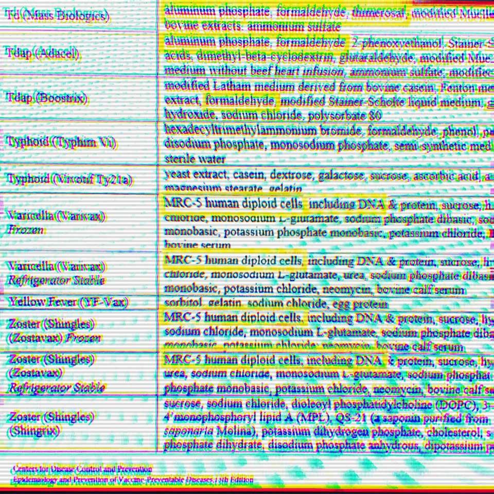 Screenshot of some vaccine ingredients.